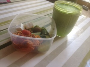 healthy left overs and green juice