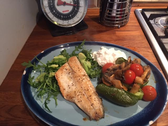 Seabass with stuffed pepper and avocado salad