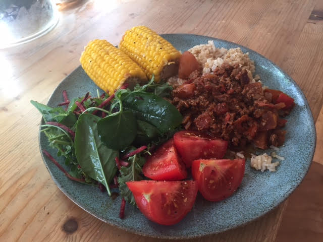 Corn Mince with Brown Rice and Salad