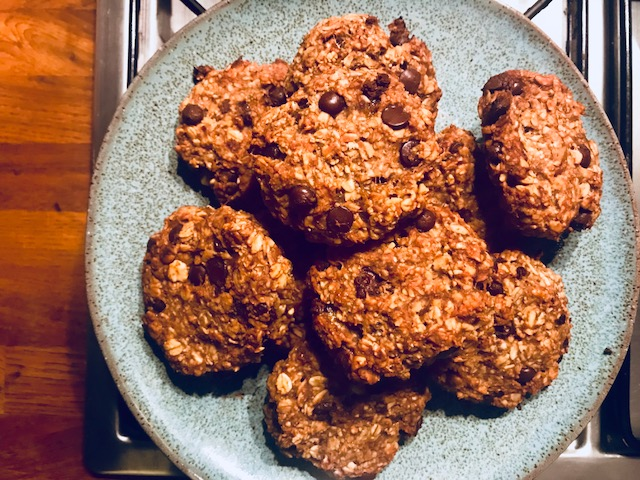 Oat, Banana, Peanut butter and Cocoa nib Biscuits