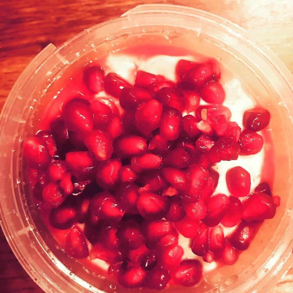 Kefir vanilla yoghurt and pomegranates!